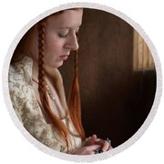 Medieval Tudor Woman With Red Hair  Round Beach Towel