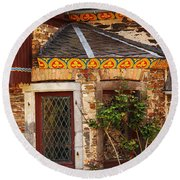 Medieval Window And Rose Bush In Germany Round Beach Towel