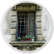 Medieval Window With Iron Grilles Round Beach Towel