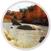 Fall Cypress At Bandera Falls On The Medina River Round Beach Towel