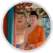 Meditating Buddha In Lotus Position Round Beach Towel