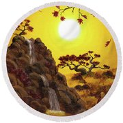 Meditating By A Golden Waterfall Round Beach Towel