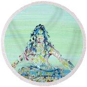 Meditation Blues Round Beach Towel