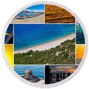 Mediterranean Coast Collage Round Beach Towel