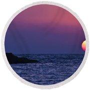 Mediterranean Sunset  Round Beach Towel