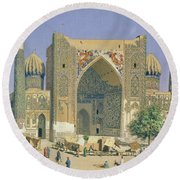 Medrasah Shir-dhor At Registan Place In Samarkand, 1869-70 Oil On Canvas Round Beach Towel
