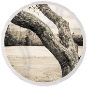 Meet Me Under The Old Apple Tree Round Beach Towel