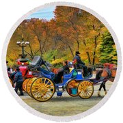 Meeting Of The Carriages Round Beach Towel