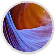 Meeting Of The Curves In Lower Antelope Canyon In Lake Powell Navajo Tribal Park-arizona  Round Beach Towel