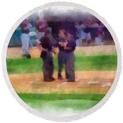 Meeting Of The Umpires Photo Art Round Beach Towel
