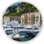 Mega Yachts In Port Of Nice France Round Beach Towel