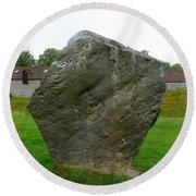 Megalith At Avebury Round Beach Towel