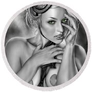 Megan Round Beach Towel by Pete Tapang