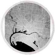 Melbourne Street Map - Melbourne Australia Road Map Art On Color Round Beach Towel