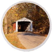 Melcher Covered Bridge Parke Co In Usa Round Beach Towel