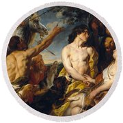 Meleager And Atalante Round Beach Towel