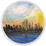 Melisa's Sunrise Round Beach Towel