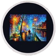 Melody Of The Night - Palette Knife Landscape Oil Painting On Canvas By Leonid Afremov Round Beach Towel