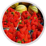 Melons And Strawberries Round Beach Towel