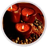 Melted Candles Round Beach Towel