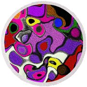 Melted Rubiks Cube 2 Round Beach Towel