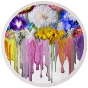 Melting Flowers Round Beach Towel