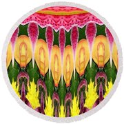 Melting Lily And Chrysanthemums Abstract Round Beach Towel