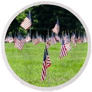Memorial Day Round Beach Towel
