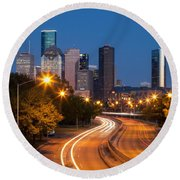 Memorial Drive And Houston Skyline Round Beach Towel