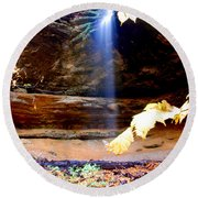 Memorial Falls IIi Round Beach Towel