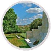 Memorial In Anzak Cemetery Along The Dardenelles In Gallipolii-turkey Round Beach Towel