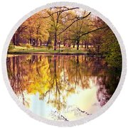 Memorial Park - Henry County Round Beach Towel