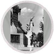 Memorial Statue Children Playing Juarez Chihuahua Mexico 1977 Black And White Round Beach Towel