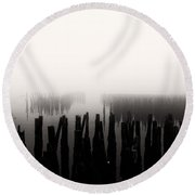 Memories And Fog Round Beach Towel