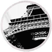 Eiffel Tower Silhouette Round Beach Towel