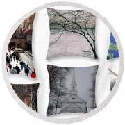 Memories Of Winter - A Collage Round Beach Towel