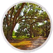 Memory Lane Oil Round Beach Towel