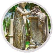 Memphis Elmwood Cemetery Monument - Cassie Hill Round Beach Towel