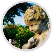 Memphis Elmwood Cemetery - Boy Angel Round Beach Towel