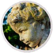 Memphis Elmwood Cemetery - Boy Angel Vertical Round Beach Towel