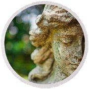 Memphis Elmwood Cemetery - Girl With Cross Close-up Round Beach Towel