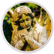 Memphis Elmwood Cemetery - Praying Angel Round Beach Towel