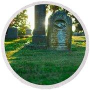 Memphis Elmwood Cemetery - Backlit Grave Stones Round Beach Towel