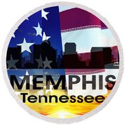 Memphis Tn Patriotic Large Cityscape Round Beach Towel