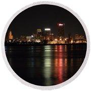 Memphis Tn Skyline At Night Round Beach Towel