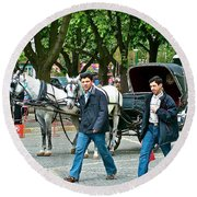 Men And Carriages In A Street Near Saint Sophia's In Istanbul-turkey Round Beach Towel