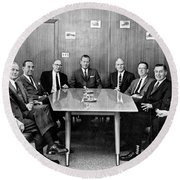 Men At A Business Meeting Round Beach Towel