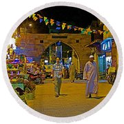 Men In The Spice Market In Aswan-egypt  Round Beach Towel