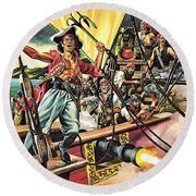 Men Of The Jolly Roger Round Beach Towel by Ron Embleton