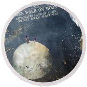 Men Walk On Moon Astronauts Round Beach Towel